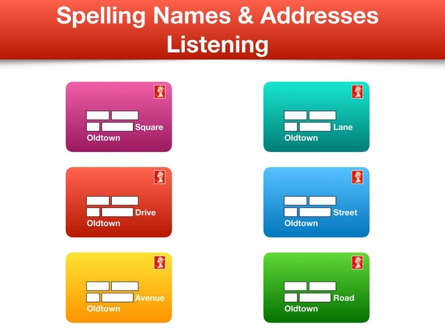 Spelling names and addresses Listening & Writing by Teeny Tiny TEFL
