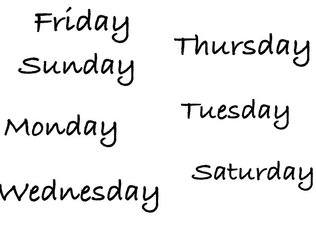 Days Of The Week by Miss Kingsley