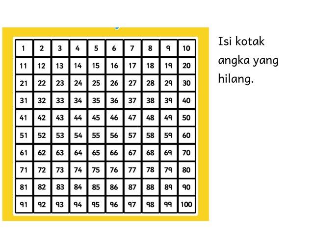 Missing Number Hundred Board by dwi kartika