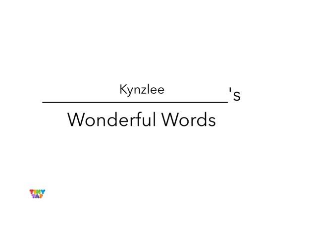 Kynzlee's Wonderful Words by Erin Moody