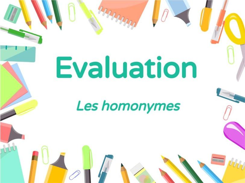 Evaluation sur les homonymes  by Camille BENARD