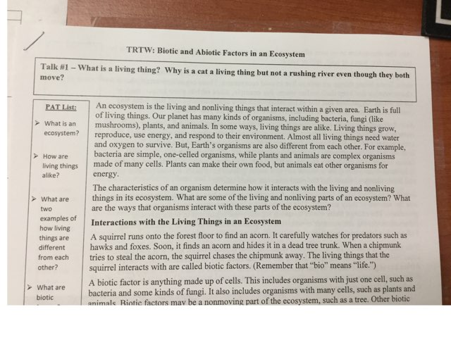 Biotic/Abiotic Factors and Ecosystems TRTW by Marisa Hodges