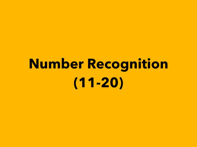 Number Recognition (11-20) by Lori Board