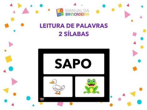 Leitura De Palavras 2 Sílabas by Manual Da Brincadeira Miryam Pelosi
