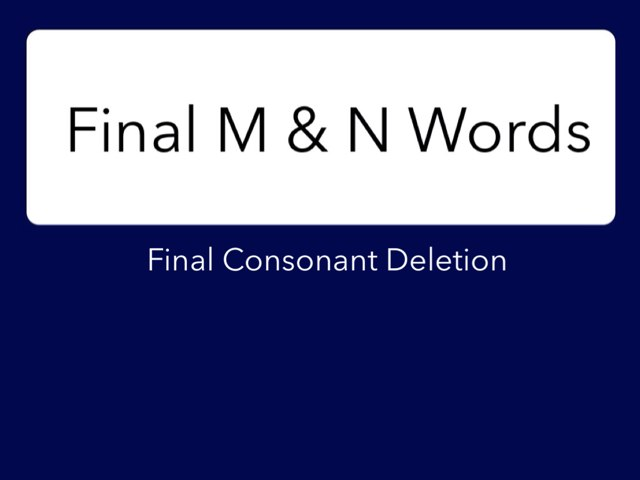 Final M and N Words by 58638 58638
