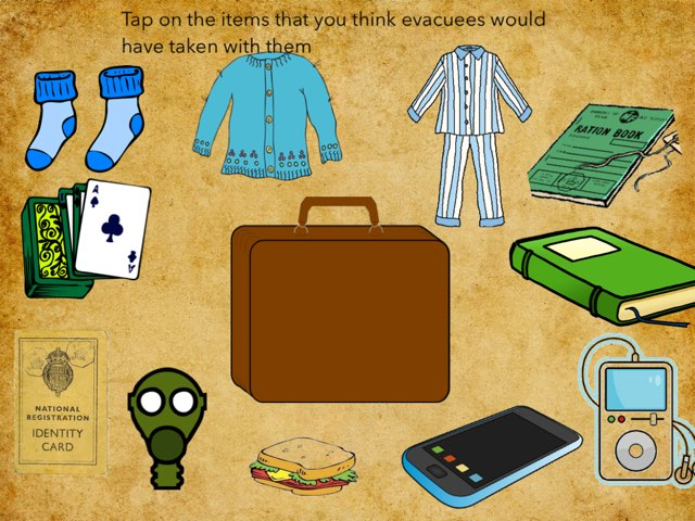 This is a game were you must choose the correct items that an evacuee would have taken with them by RGS Springfield
