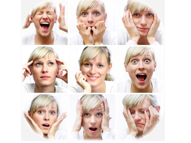 How is the woman feeling? Look at the different pictures and decide. Then, tap the correct face! Simple!  by Gill Mcdonald