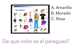 Clothing, shapes, and animals in Spanish. by Vanessa Colorado