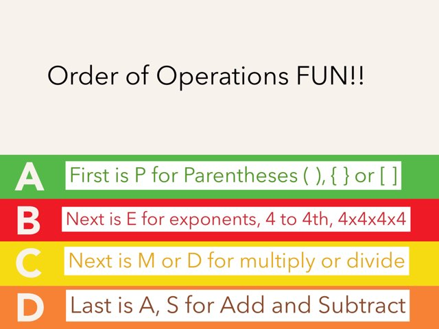 Review order of Operations, Math 5 by Renee Long