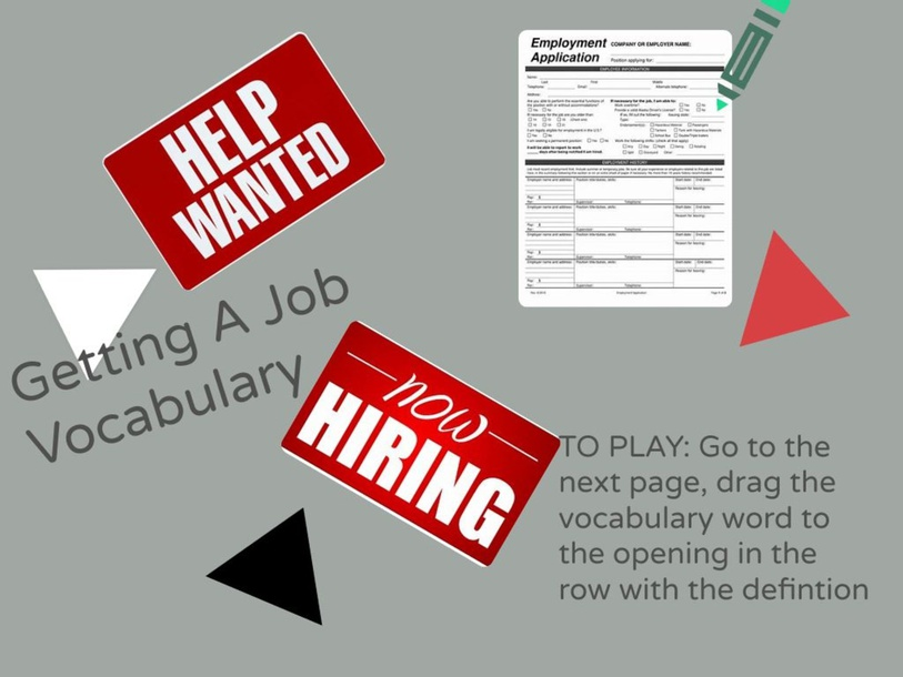 Getting A Job Vocabulary by Cathy Donaldson