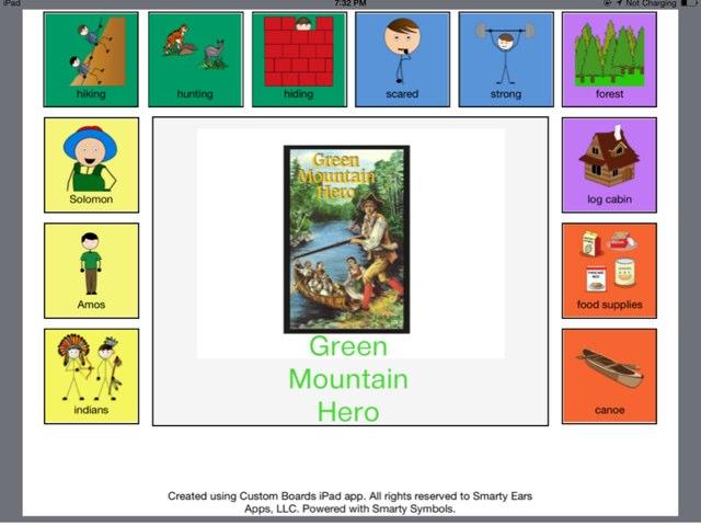 Green Mountain Hero Communication Board (SB) by Maureen Nevers