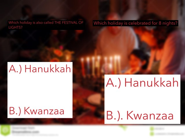 Hanukkah and Kwanzaa Quiz by Rebecca Sackrider