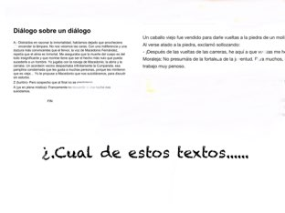 Preguntas sobre textos y diálogos   by Pablo garcia