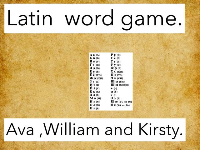 Latin Quiz  by Fiona Crean
