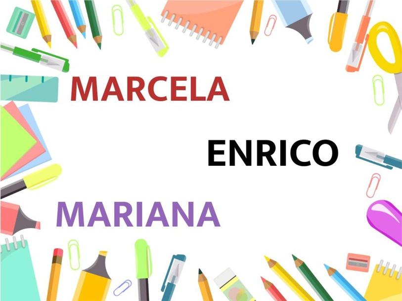 Montando nomes - Marcela, Enrico e Mariana by Suelen Maria Ritter de Arruda