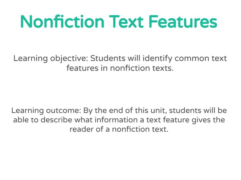 Nonfiction Text Features by Marley Enfield