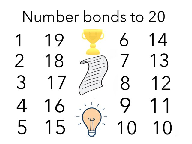 Number Bonds to 20 For Canterbury School P1 by Miss Sam