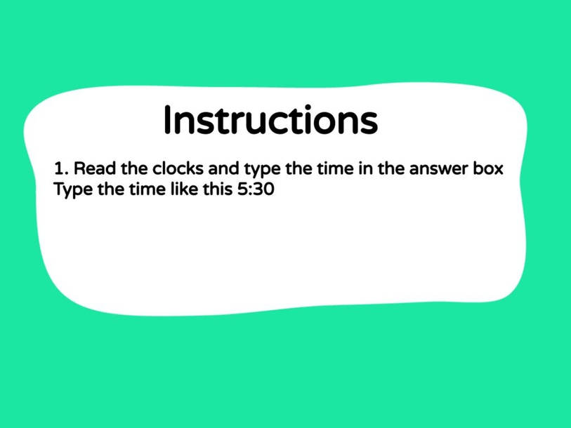 Numeracy - Telling time to half-hour by metta epp
