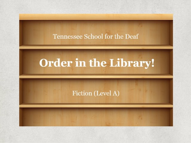 Order In The Library -- A(1) by TSD Library