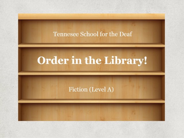 Order In The Library -- A(3) by TSD Library