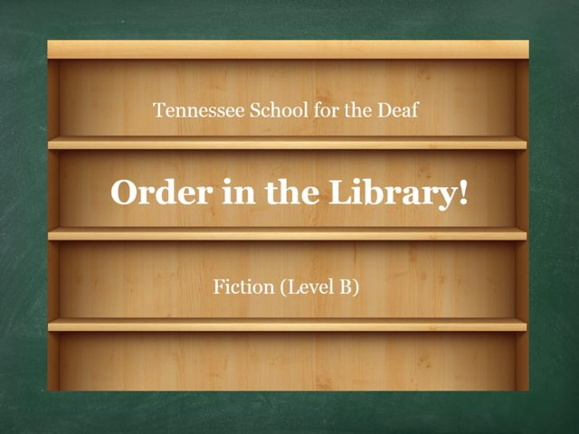 Order In The Library -- B(1) by TSD Library