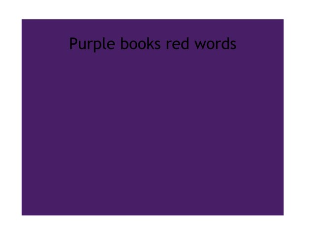 Purple Books Red Words by Heather Cooper