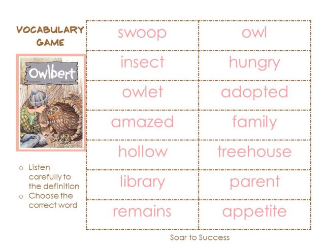 SF Owlet Vocabulary Words by D. goodman