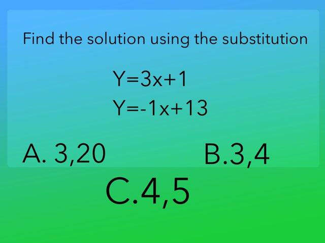 Substitution And Elimination Pop Quiz by Jacqueline Pleitez