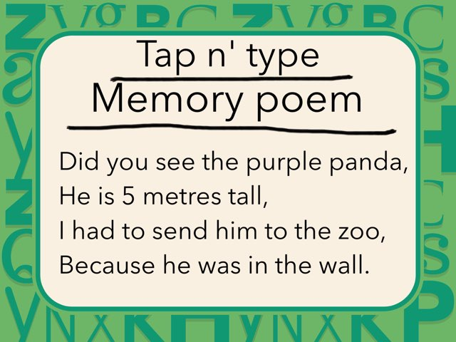 Tap n' Type Memory Poem Game by Samantha Cassidy