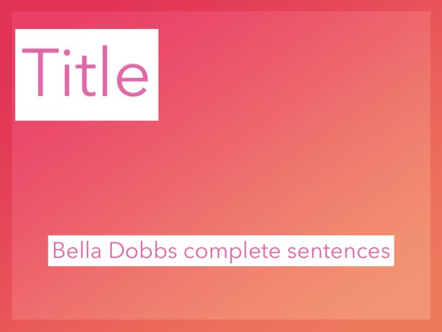 Bella Dobbs Game by Mrs.  Suanny