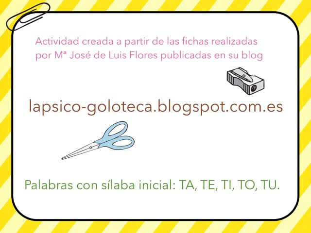 Palabras Con Sílaba Inicial Ta, Te, Ti, To, Tu. by Jose Sanchez Ureña