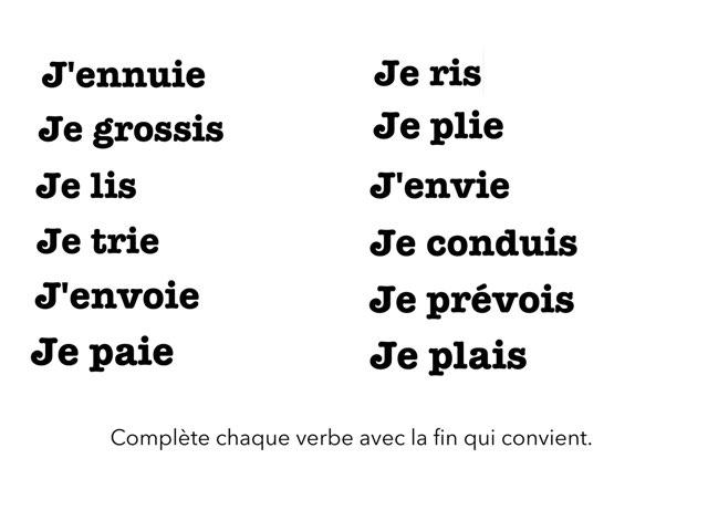 Présent, Terminaisons Verbes G1,G2,G3 by Pascal Mathieu