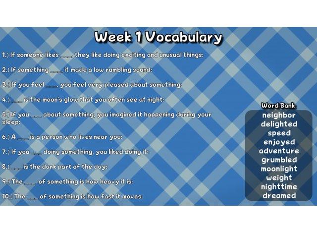 Week 1 Vocabulary by Teri Hutchings