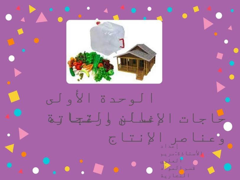حاجات الإنسان ورغباته وعناصر الإنتاج by Maryam Alalawi